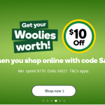 Woolworths $10 Off for Online Shop End 3/8/2021
